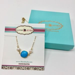 Turquoise and Pearl Gold Chain Necklace